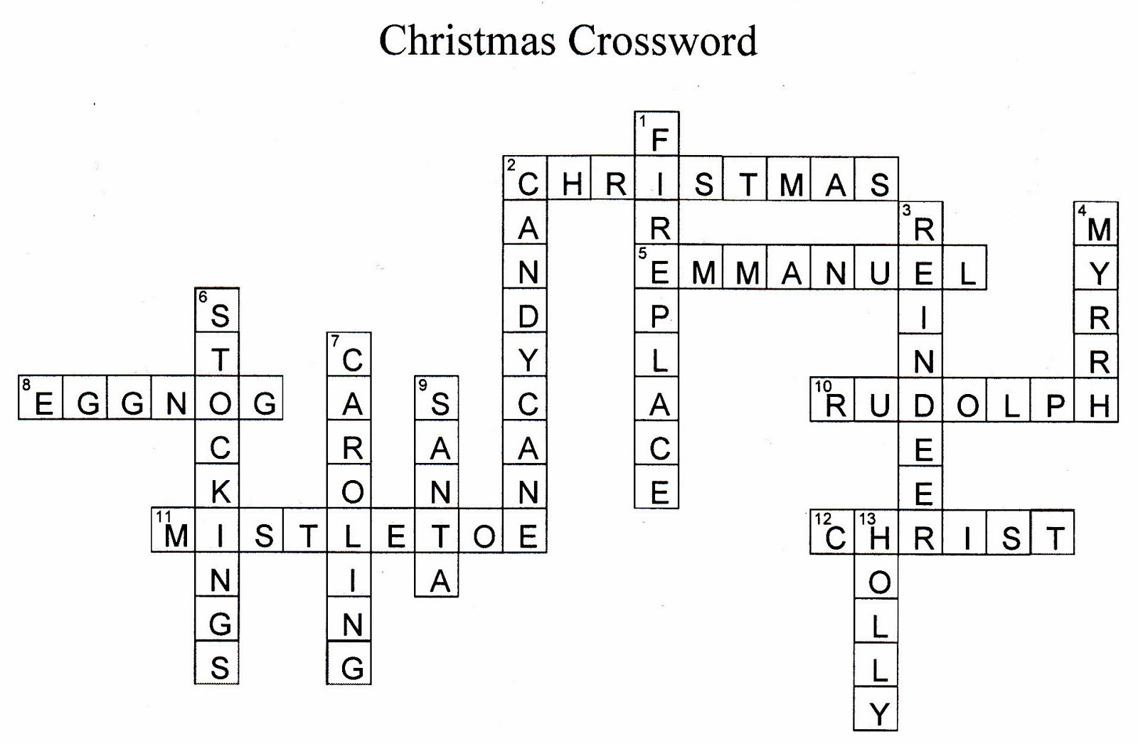 Charger Christmas Crossword Puzzle Answers