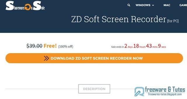 Offre promotionnelle : ZD Soft Screen Recorder gratuit (3 jours) !