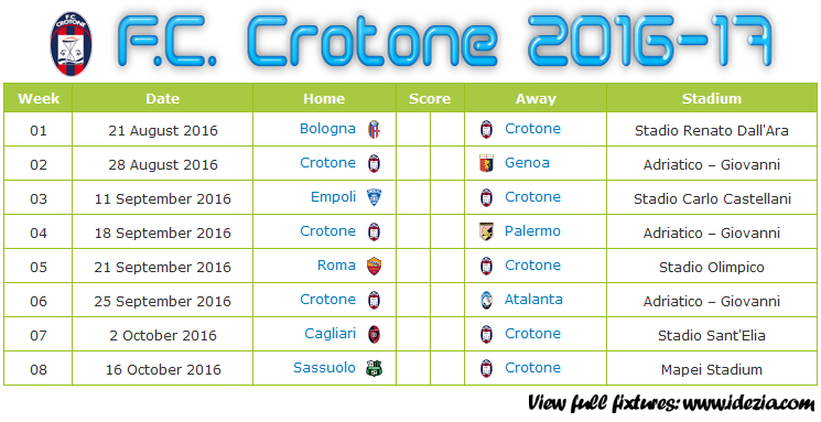 Download Jadwal FC Crotone 2016-2017 File PDF - Download Kalender Lengkap Pertandingan FC Crotone 2016-2017 File PDF - Download FC Crotone Schedule Full Fixture File PDF - Schedule with Score Coloumn