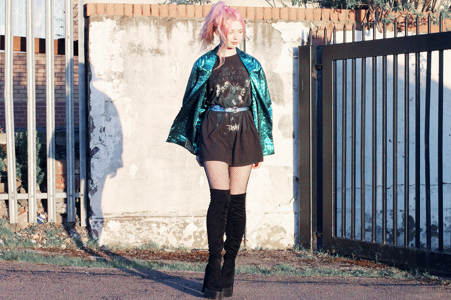 slipknot tee, thigh high boots, vintage jacket, band tshirt