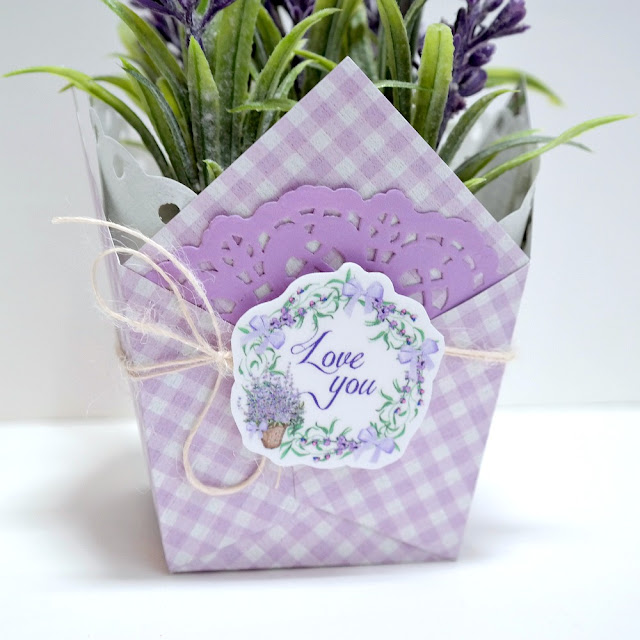 Lavender Breeze Potted Plant Favor Box Side Detail 1 by Dana Tatar for FabScraps