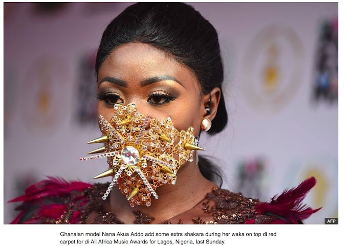 BBC features Nana Akua Addo in gold mask in Africa's top picture of the week