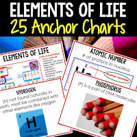 life science posters, life science anchor charts, elements of life posters, elements of life anchor charts