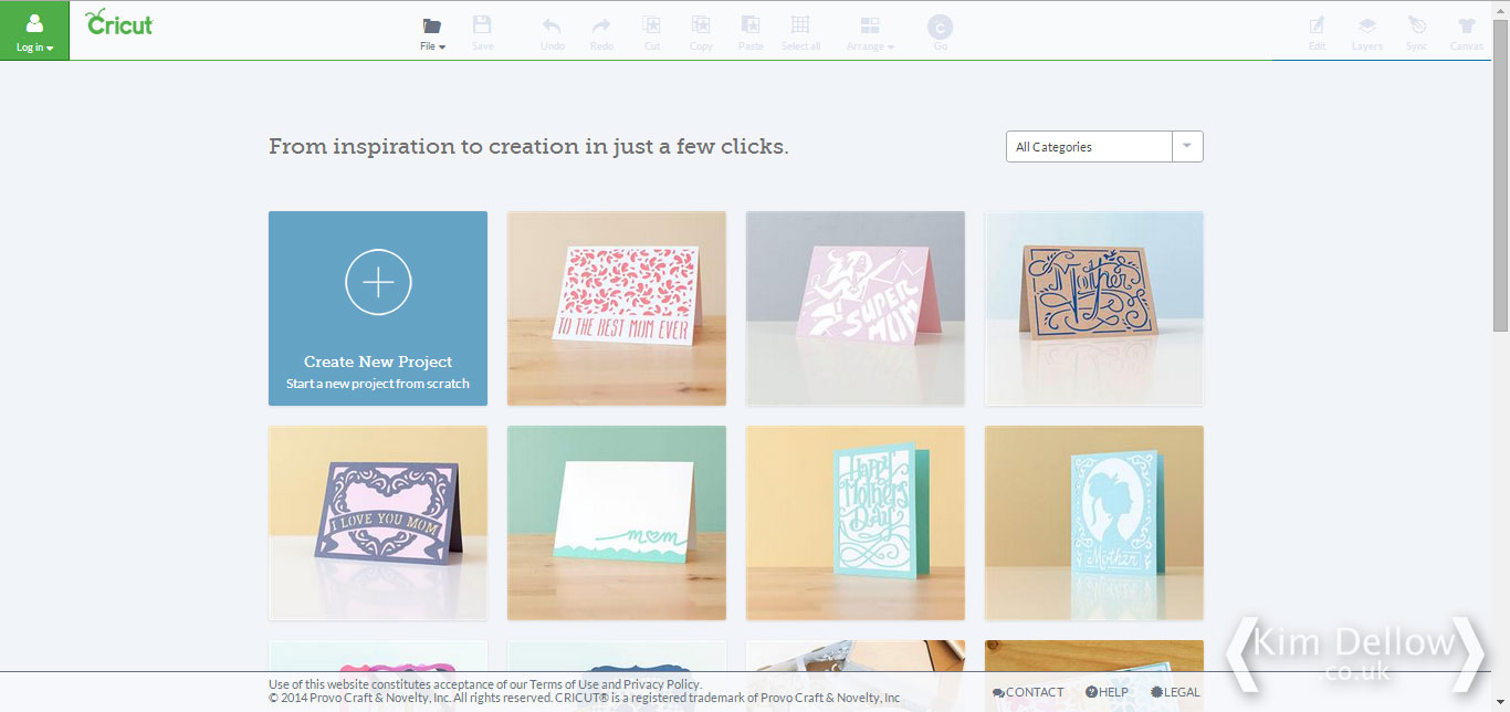 Cricut Design Space Software first page