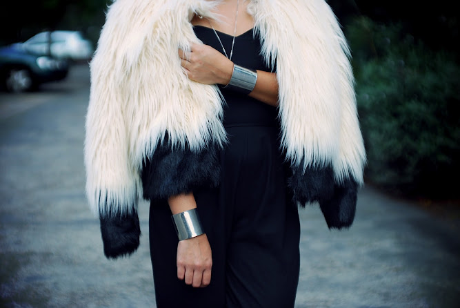 St Frock Arctic Furry Jacket LOVE Black Strapless Jumpsuit