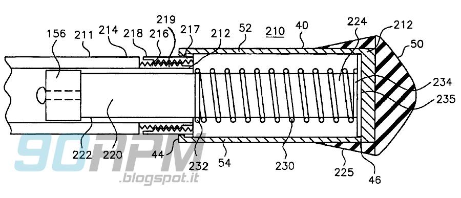 Figura  tecnica tratta dal brevetto della manopola di sicurezza per le biciclette dei bambini