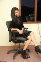 Mounika in a velvet short black dress for Tick Tack Movie Press Meet March 2017 005.JPG