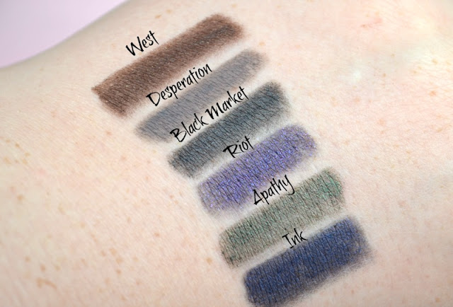 Urban Decay Black Market 24/7 Glide-On Pencil Set Swatches