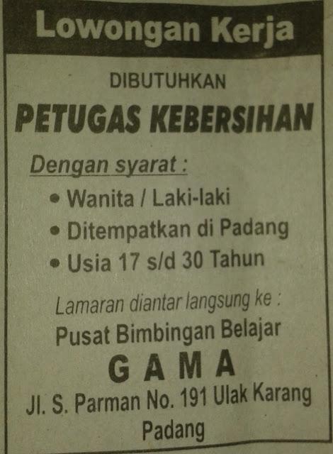 Lowongan Kerja di Padang – Bimbel GAMA – Staf Pengajar dan