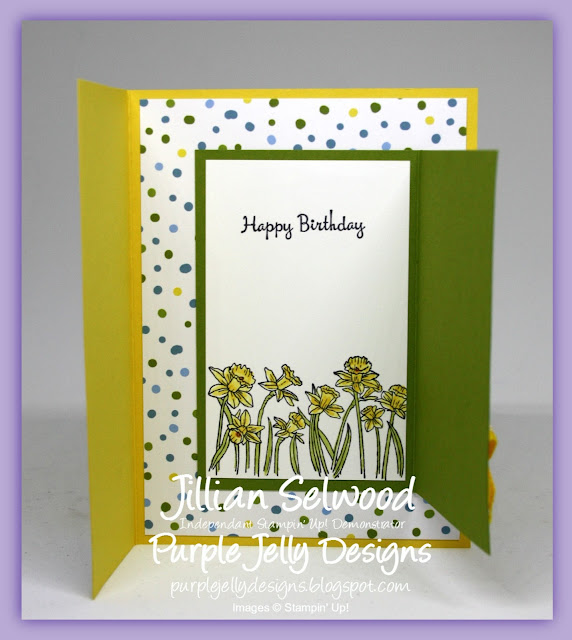 You're Inspiring stamp set, Daffodil Delight, Old Olive, Fancy Fold Birthday card