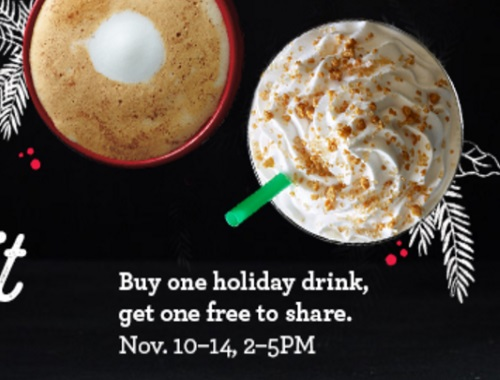 Starbucks BOGO Holiday Drink Share Event