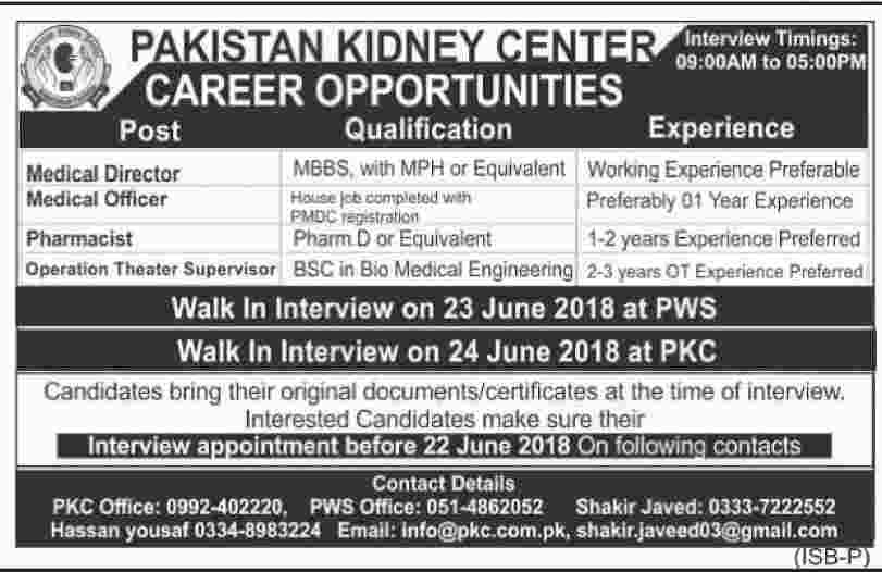 Walk in Interview Jobs in Paksitan Kidney Center for Medical Officers