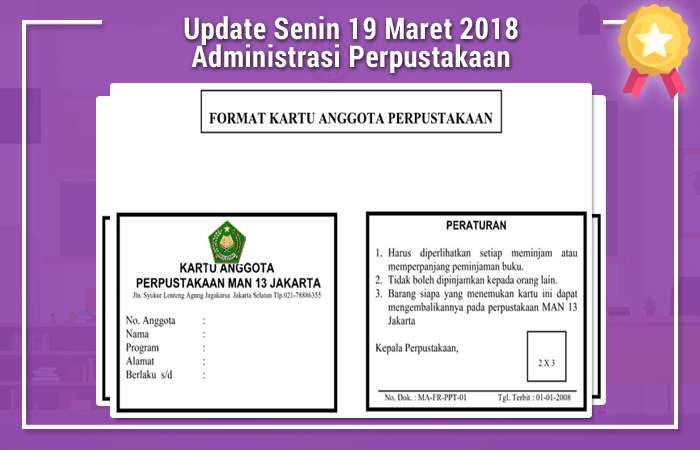 Update Senin 19 Maret 2018 Administrasi Perpustakaan