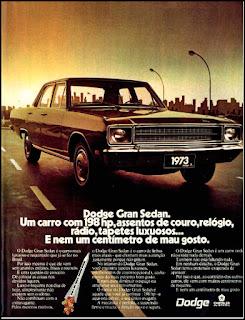 propaganda Dodge Gran Sedan 1973, Ford Willys anos 70, carro antigo Ford, década de 70, anos 70, Oswaldo Hernandez,