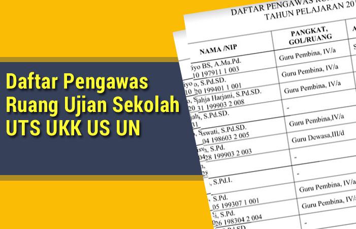 Daftar Pengawas Ruang Ujian Sekolah