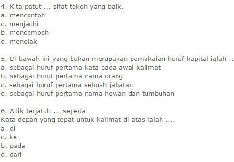 Soal UKK Bahasa Indonesia SD Kelas 3 Semester 1 Berkarakter Terbaru