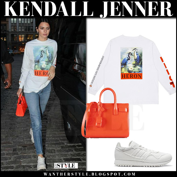 Kendall Jenner in white printed Heron Preston top what she wore july 29 2017 streetstyle