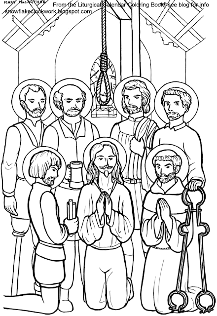 Snowflake Clockwork: English Martyrs coloring page