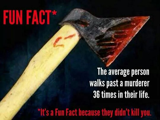 Murderous Fun Fact Funny Joke Picture