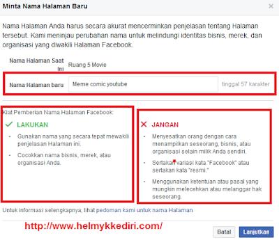 Cara merubah nama halaman facebook1