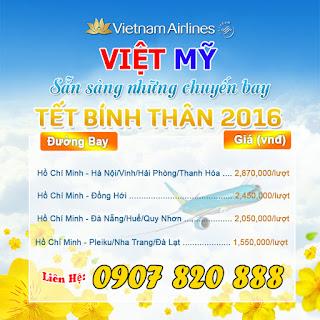 Giá vé máy bay tết 2016 của Vietnam Airlines