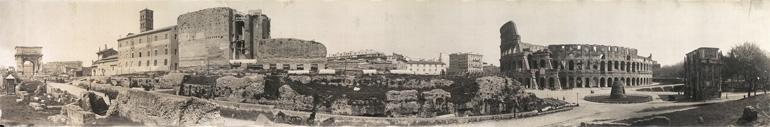 Photographie panoramique des vestiges antiques de Rome en 1909
