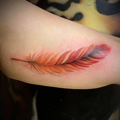 orange red feather tattoo kırmızı turuncu tüy dövmesi