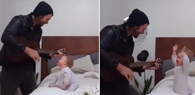 Μπαμπάς τραγουδάει και παίζει κιθάρα στη μηνών κόpη του και η μικρούλα τρελαίνεται