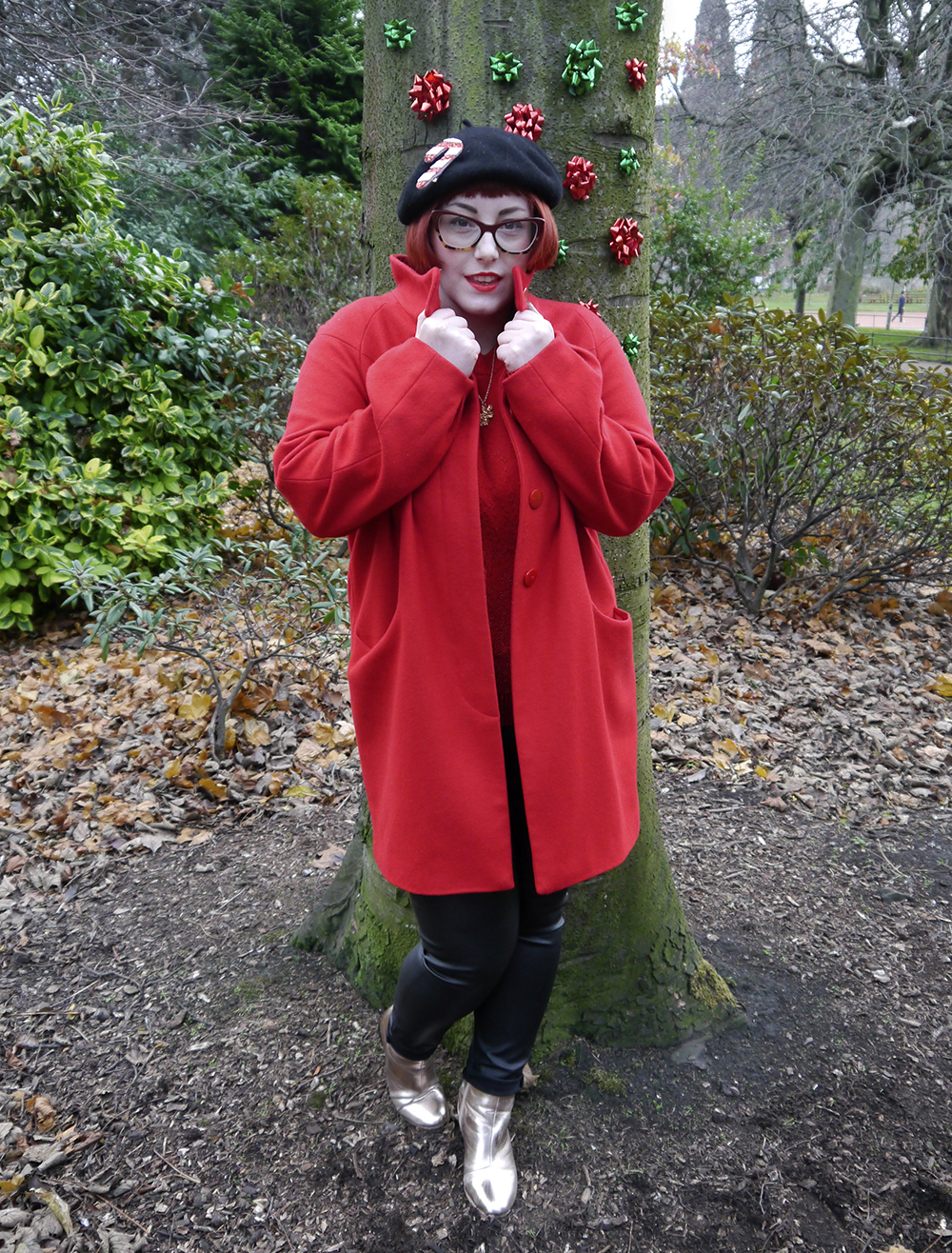 Unlikely Style Icon, Christmas, Christmas outfit, Christmas Unlikely Style Icon, festive jumper, subtle festive jumper, red outfit, winter outfit, Bonnie Bling snowflake necklace, winter necklace, gold boots, Primark gold boots, black beret, candy cane, Alternate Normality, festive outfit, Spex Pistols glasses