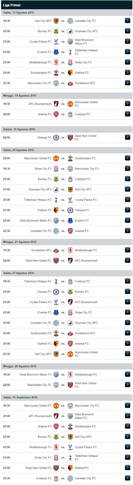 Jadwal Pertandingan Liga Primer Inggris 2016/17 - EPL 2016/17