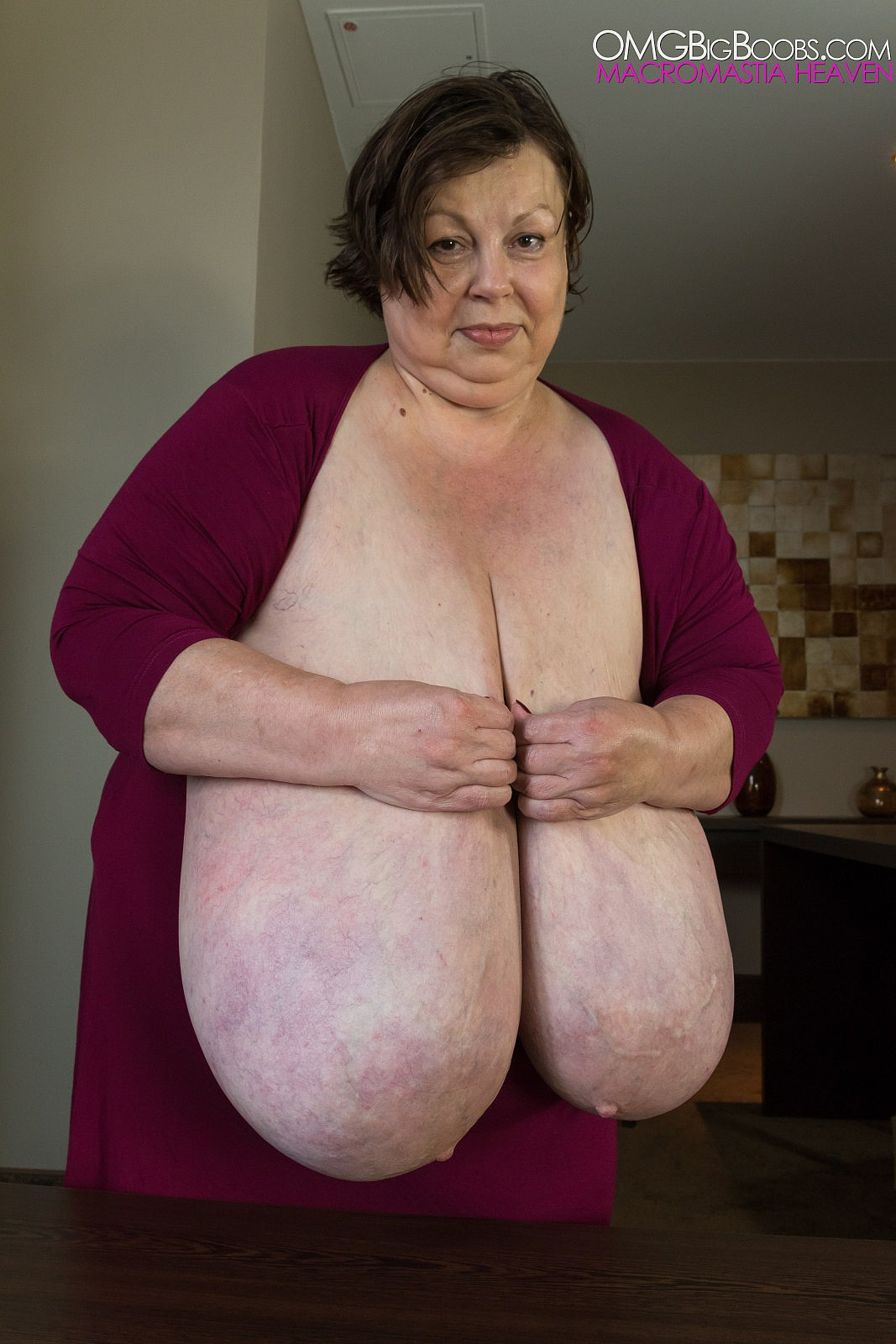 Old woman with big boobs