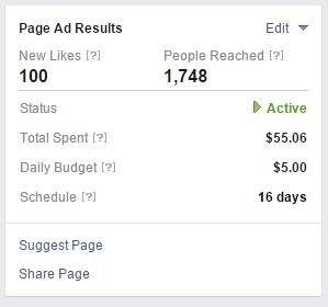 Screen shot of Facebook Promotion results