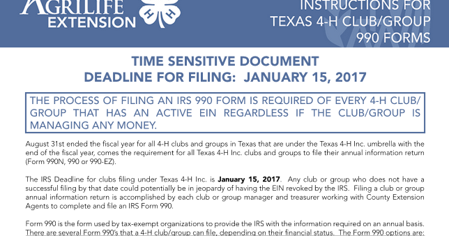 Irs 990 Filing Deadline January 15 2017 Texas 4 H