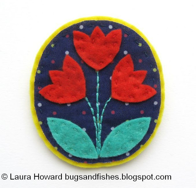 folk floral brooch