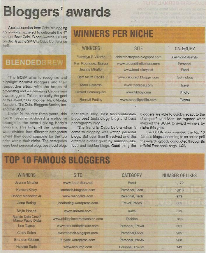Best Cebu Blogs Awards 2011 Winners | Best Cebu Blogs Awards