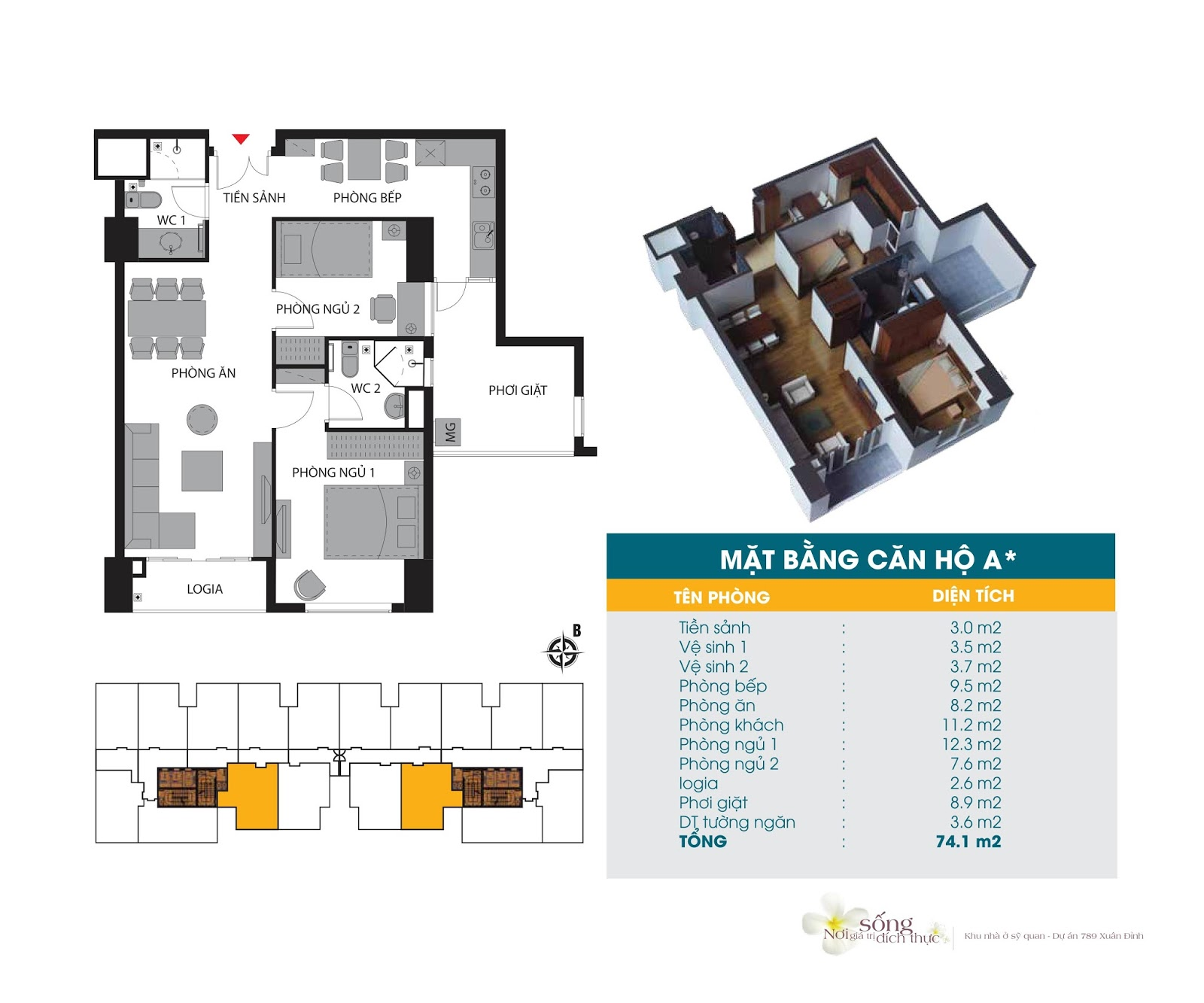 Thiết kế căn hộ 74.1m2 Chung cư 789 Xuân Đỉnh