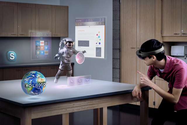 Animated example of Augmented reality with a kid wearing AV glasses and watching an austronaut come to life