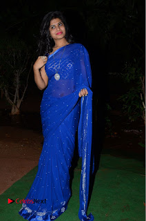 Actress Alekhya Pictures in Blue Saree at Happy Birthday Audio Launch  0104