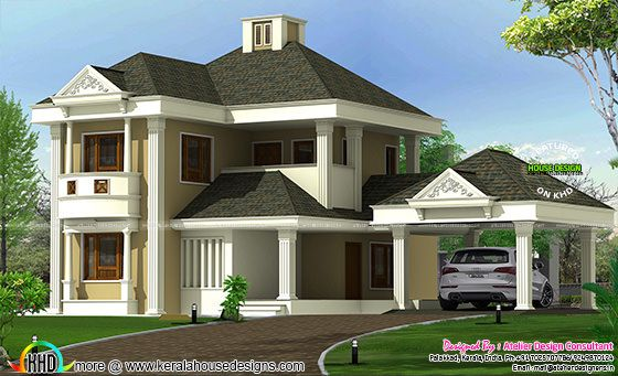 Cute colonial style sloped roof home