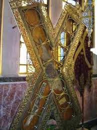 Pieces of St Andrew's cross, Patras, Greece.