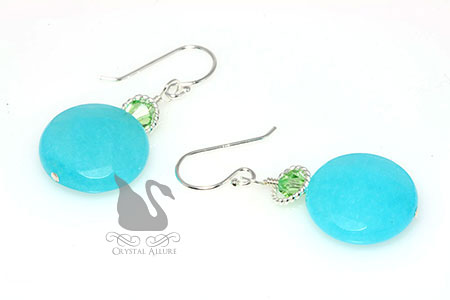 Crystal Aqua Blue Dyed Jade Gemstone Beaded Earrings (E274-AB)