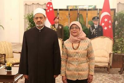 Imam Ahmed Eltayyeb Sheikh of Al-Azhar and Halima Yacob President of Singapore