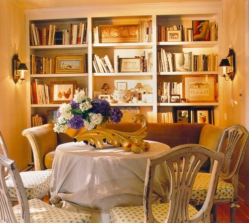 Green Living Room Ideas In East Hampton New York: Andrew Barnes Lifestyle: Dining Room Library Combination