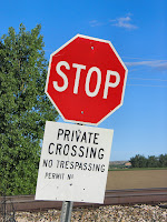 stop sign warning do not cross private no trespassing forbid