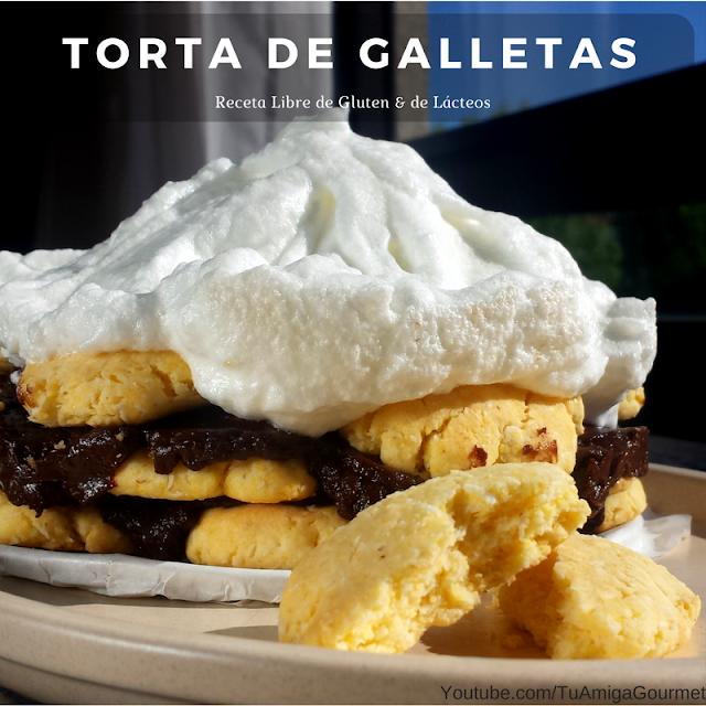 Torta de Galletas y Chocolate. Receta libre de gluten y de Lácteos
