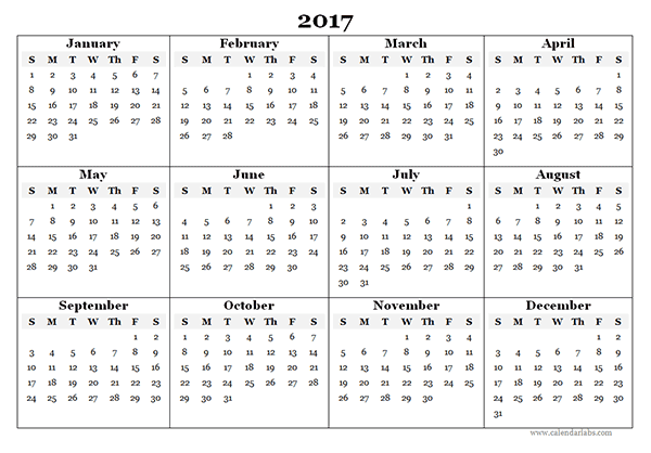 Free Calendar 2017, 2017 Printable Calendar, Calendar 2017 with Holidays, Blank Calendar 2017, 2017 Calendar templates