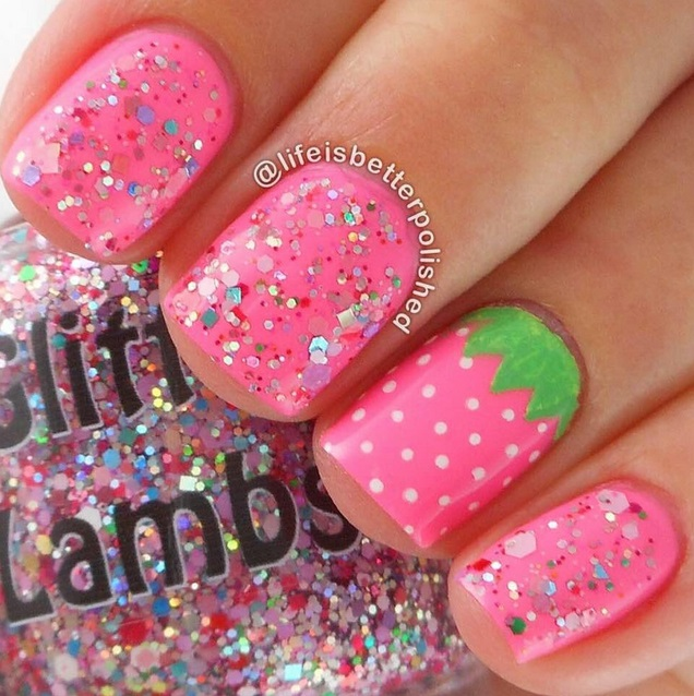 "Glitter Lambs ""Strawberry ShortCake"" Glitter Topper Nail Polish"