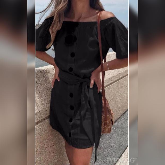 Κοντομάνικο  κοντό μαύρο  φόρεμα BUENA BLACK