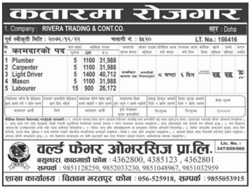 Jobs For Nepali In Qatar, Free Visa & Free Ticket Salary -Rs.40,712/