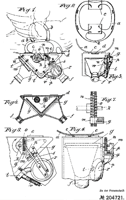 Detailed sketches of breast-mounted carrier pigeon camera with two lenses
